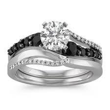 black rhodium engagement rings swirl black sapphire and wedding set with black