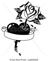 tattoo heart rose and banner hand drawn tattoo style eps