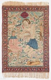 kerman pictorial rug top condition high pile not restored all