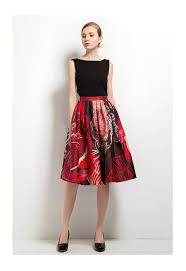 knee length floral print midi below knee skirt shop mode sty