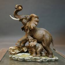 Retro ceramic lucky elephant home decor crafts room decoration