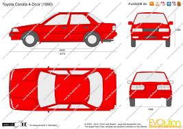 Toyota Corolla 1989 The Blueprints Com Vector Drawing Toyota Corolla 4 Door