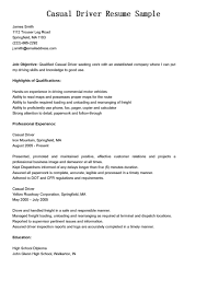 Driver Resume Sample by Professional Experience For Casual Delivery Driver Resume Sample