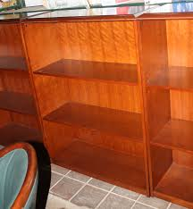 furniture sliding glass door bookcase with classic wood finished