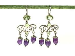 amethyst drop earrings www aisra amethyst and peridot silver filigree drop earrings