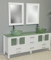 Modern White Bathroom Vanity Cambridge 71 Inch White Glass Double Sink Bathroom Vanity Set
