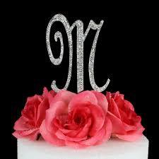 m cake topper letter m cake topper monogram 5 inch silver rhinestone