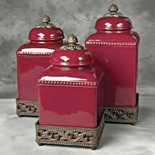 red kitchen canisters red canister set for kitchen vintage set of 3 metal kitchen