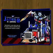 optimus prime birthday optimus prime transformers birthday invitation on storenvy