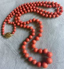 coral bead necklace images Mediterranean coral bead necklace graduated 750 1000 gold clasp jpg