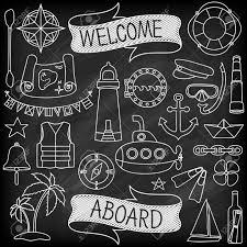 doodle hand drawn nautical decor set chalk board effect graphic
