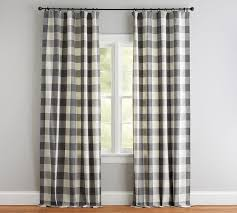 Grey Plaid Curtains Buffalo Check Drape Gray Pottery Barn