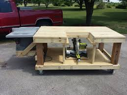 Work Bench Table Mobile Workbench Table Saw And Miter Saw Is Moveable By Eric