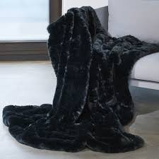 plaid noir pour canapé plaid en fausse fourrure couvre lit fausse fourrure couverture