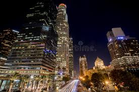 Landscape Lighting Los Angeles Downtown Los Angeles Streets Landscape Lights Editorial