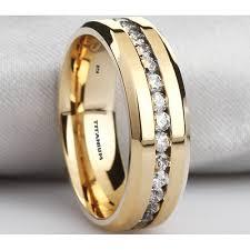 classic rings bands images Classic titanium unisex gold tone wedding band ring jpg
