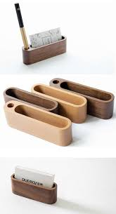 wooden business card holder build in pen pencil holder stand