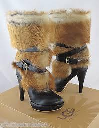 ugg boots womens heels ugg australia s foxley fur sheepskin high heel boots size
