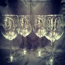 wine glass with initials personalized monogrammed etched wine glasses set of 2 aftcra