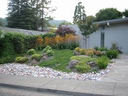 curved beds with grass rocks mulch google search austin