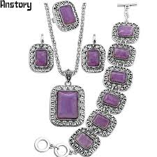 necklace with purple stone images Natural purple stone jewelry sets flower pendant necklace bracelet jpg