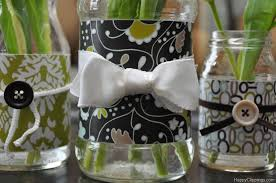 repurposed glass jars with decorative paper
