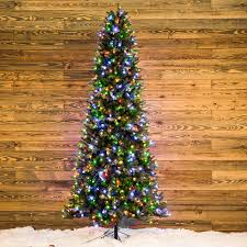 shop ge 9 ft pre lit aspen fir slim artificial christmas tree with
