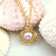 pearl charm necklace images Kblossoms jewelry gold sea shell rose pearl charm necklace jpeg