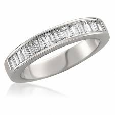 baguette diamond band 3 4 ct t w baguette diamond wedding band in 14k white gold h