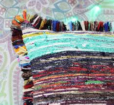 buy 16 x 16 hand woven chindi rug pillow bohemian decorative