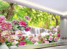 peony flowers landscape murals tv wall papel parede mural