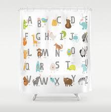 Animal Shower Curtains Shower Curtain Animal Alphabet Shower Curtain Woodland