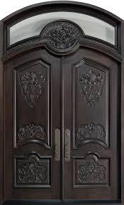 Wooden Main Door Front Door Custom Double Solid Wood With Espresso Finish