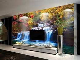 hd natural landscape woods waterfall tv wall mural 3d wallpaper 3d see larger image
