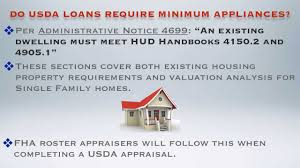 Usda Rural Housing Service Do Usda Loans Require A Stove As An Appliance Requirement Youtube