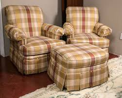 Plaid Chair And Ottoman by Pair Of Custom Quality Silk Upholstered Plaid Club Chairs And
