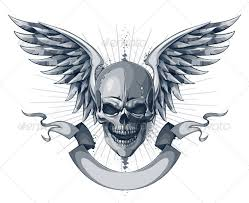 skull with wings and ribbon by vecster graphicriver