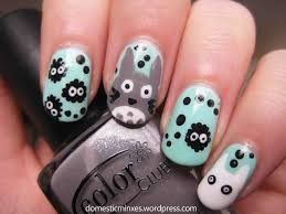 31 day nail challenge day 23 totoro art nails and wide nails