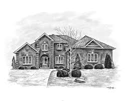 house sketches drawn from a photo great realtor client gift