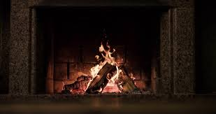 slow motion fireplace burning warm cozy fireplace with real wood