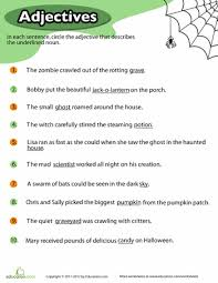 halloween adjectives worksheets wicked and halloween