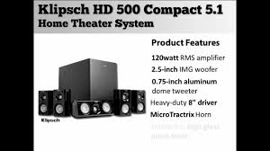 compact home theater system klipsch hd 500 compact 5 1 home theater system youtube