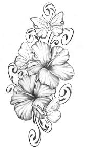 tattoo flower drawings hibiscus with butterfly tats pinterest hibiscus butterfly and
