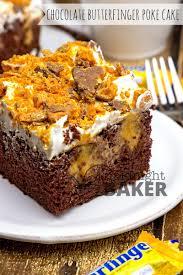 chocolate butterfinger poke cake the midnight baker