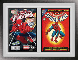 current double comic book black wood glass wall showcase frame