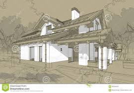 3d render sketch of modern cozy house in chalet style stock