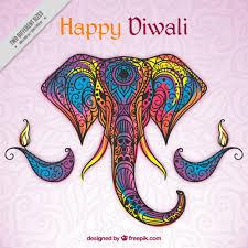 colored ornamental elephant background of happy diwali
