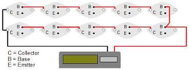 solar panel of transistor solar cells powering a calculator