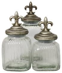 kitchen glass canisters designs fleur de lis 3 glass canister set silver