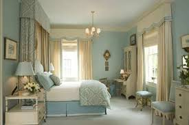 bedroom colour scheme idea with blue wall brown curtain light